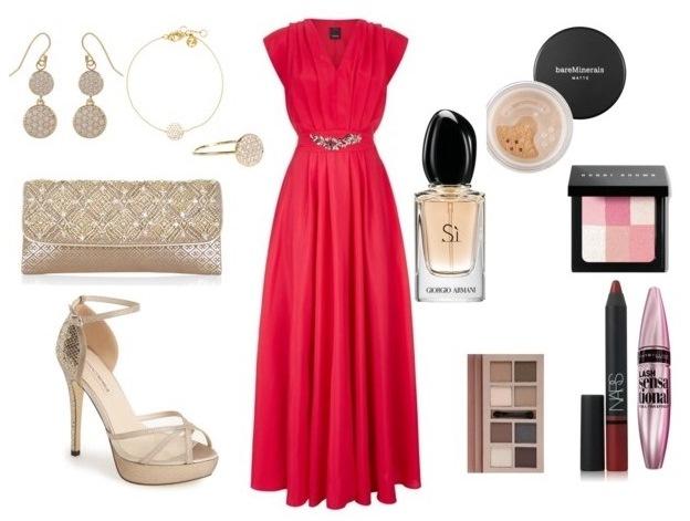Ecco cosa abbiamo utilizzato per il nostro outfit red gold  abito rosso di  Pinko con dettaglio gioiello sul punto vita 12f51ebd970