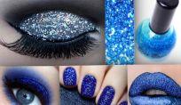 Trucco color blu glitter