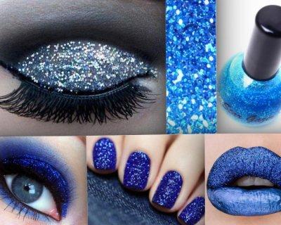 Woman in blu... glitter