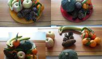 Centro tavola autunnale con frutta di stagione