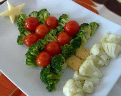Albero di natale vegetariano con broccoli e cavolfiori - Contorni di natale contorni gratis ...