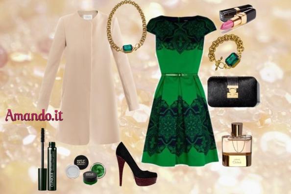 Accessori per abito verde e nero