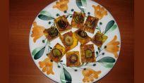 Quadrotti di frittata zafferano e porro