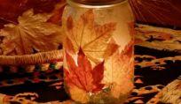 Portacandele autunnale con foglie secche fatto in casa